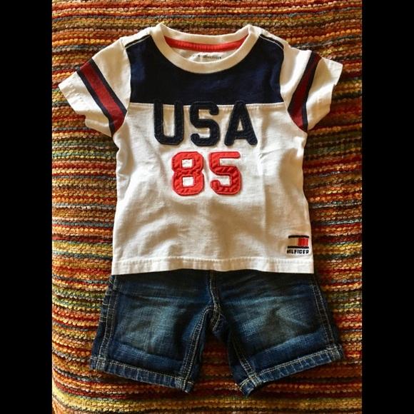 df9428c1d Tommy Hilfiger Shirts & Tops   Tshirt Jean Shorts Set   Poshmark